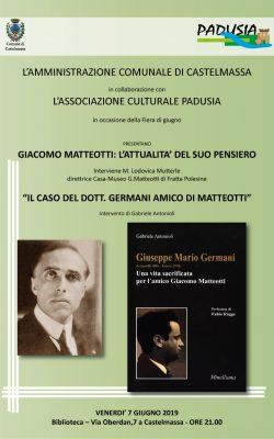 L'attualità del pensiero di Giacomo Matteotti e il caso del dott. Germani, suo amico